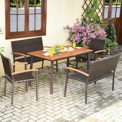 Costway 5PC Patio Rattan Dining Set Acacia Wood Table Top Stackable Chair Bench