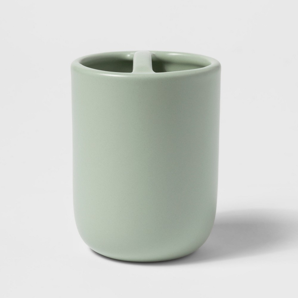 Image of Ceramic Toothbrush Holder Silver Green - Project 62