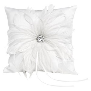 Feathered Flair Wedding Collection Ring Bearer Pillow, White