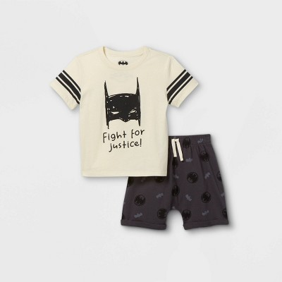 Toddler Boys' Batman 'Fight For Justice' Jersey Short Sleeve Top and Bottom Set - Cream 12M