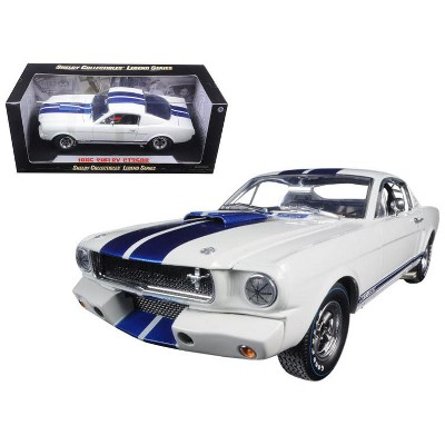 1965 Ford Mustang Shelby GT350R White w/Blue Stripes w/Carroll Shelby's Signature on the Roof 1/18 Shelby Collectibles