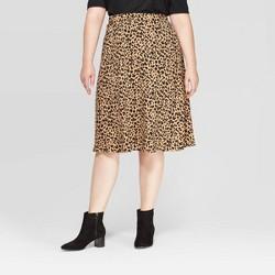 Women's Plus Size Animal Print Midi Skirt - Ava & Viv™ Brown