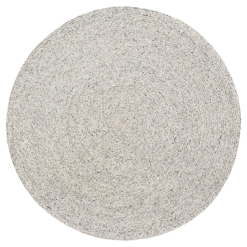 Light Gray Solid Braided Round Area Rug 6' - Anji Mountain
