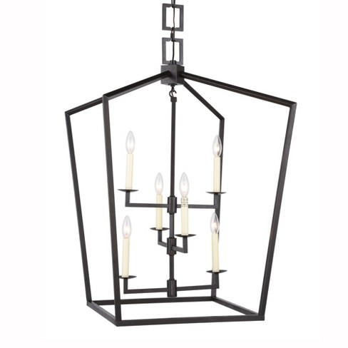 "Elegant Lighting 1512D24 Denmark 6 Light 24"" Wide Cage Style Taper Candle 3 Tier Chandelier - image 1 of 4"