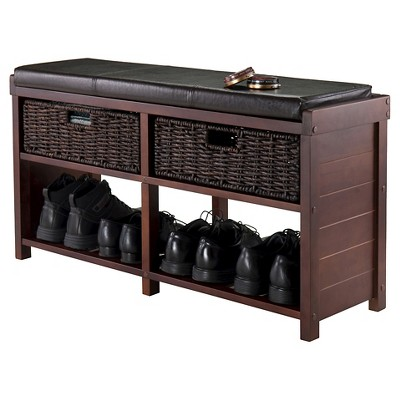 Merveilleux Colin Entryway Storage Bench With Cushion Cappuccino   Winsome : Target