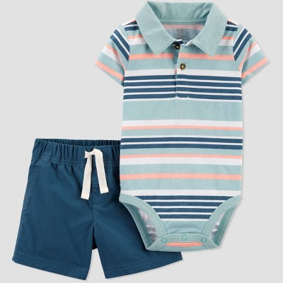 Baby Boys' Striped Top & Bottom Set - Just One You® made by carter's Blue 6M