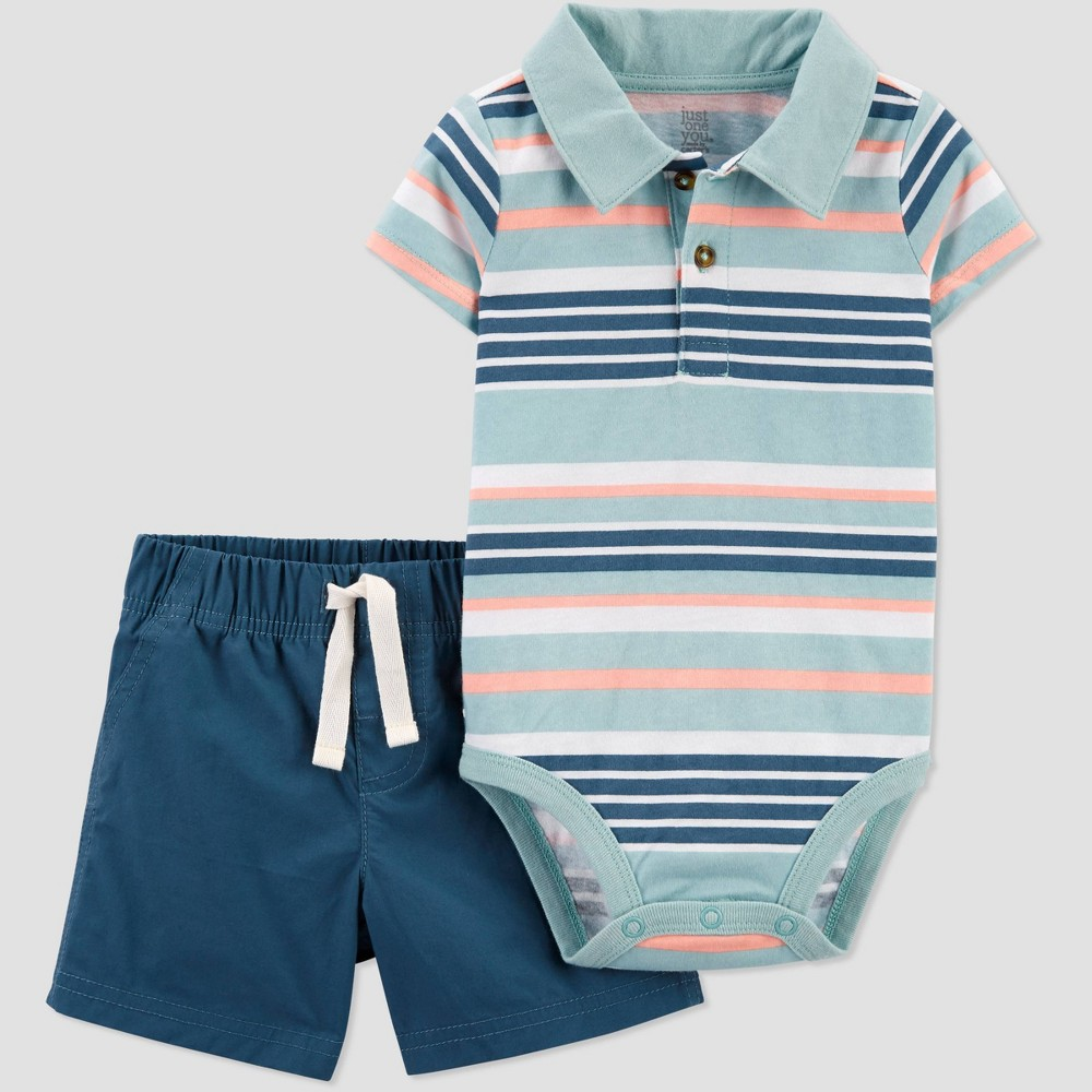 Baby Boys 39 Striped Top 38 Bottom Set Just One You 174 Made By Carter 39 S Blue 3m