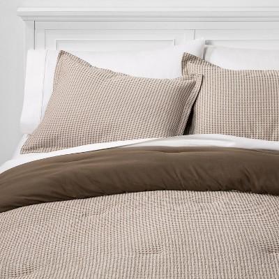 King Washed Waffle Weave Comforter Set Neutral Tonal - Threshold™