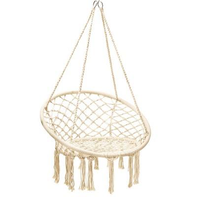 Costway Hanging Hammock Chair Macrame Swing Handwoven Cotton Backrest Garden Grey\ Black