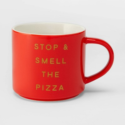 16oz Porcelain Stop and Smell the Pizza Mug Red - Threshold™