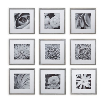 Gallery Perfect 8  x 8  (9pc)Square Photo Wall Gallery Kit with De Frame Set Gray