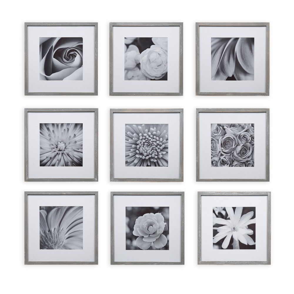 "Image of ""Gallery Perfect 8"""" x 8"""" (9pc) Square Photo Wall Gallery Kit with De Frame Set Gray"""