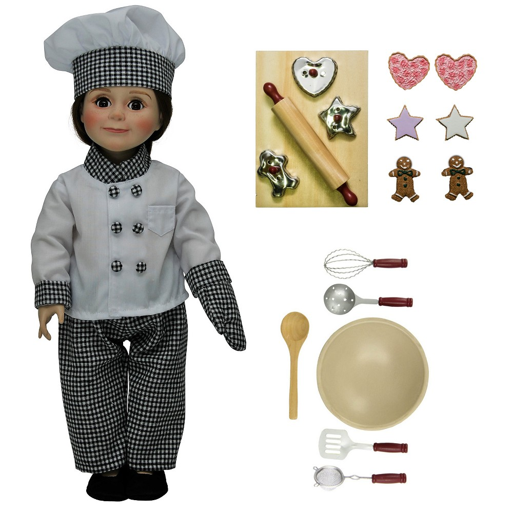 18 Doll Clothes & Accessories 24 Piece Chef Set with Kitchen & Baking Tools
