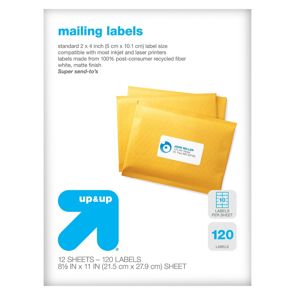 Image of Recycled Mailing Labels 120ct - Up&Up