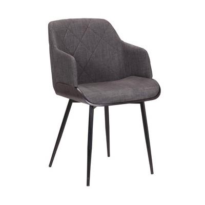 Jaida Cushion Side Chair in Black Powder Coated Finish and Brushed Wood Charcoal - Armen Living