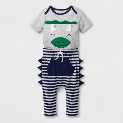 Baby Boys' 2pc Short Sleeve Bodysuit and Joggers with Kangaroo Pocket - Cat & Jack™ Gray 3-6M