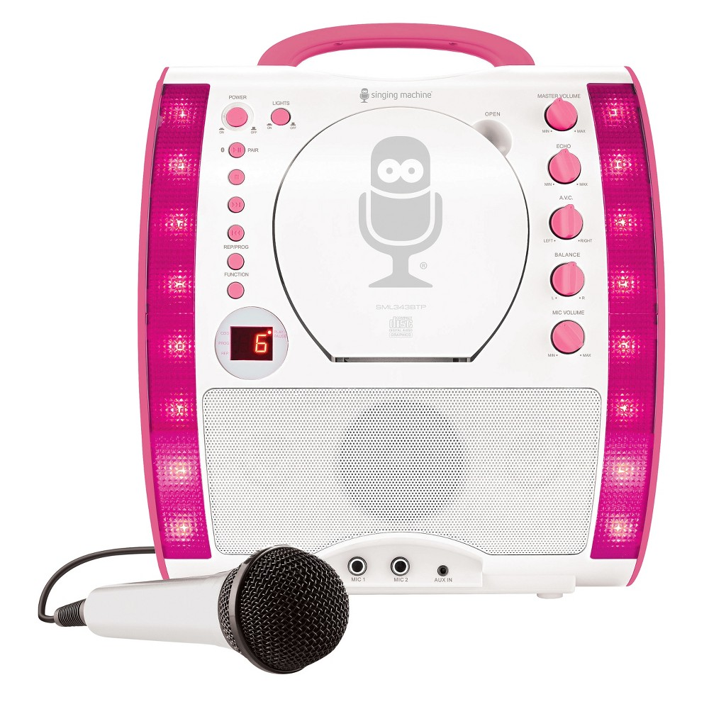 The Singing Machine Karaoke System 2-digit Led CD with Sampler Disc - White/Pink