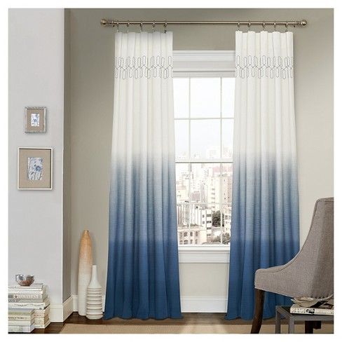 Arashi Ombre Embroidery Light Filtering Curtain Panels - Vue - image 1 of 3