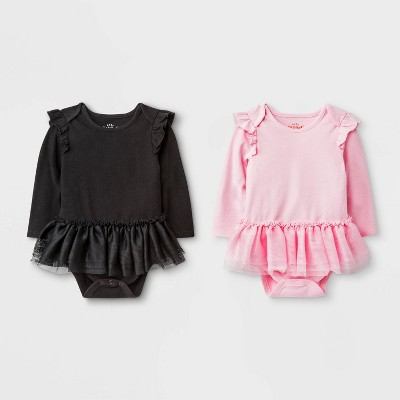 Baby Girls' 2pk Tutu Bodysuit - Cat & Jack™ Pink/Black 3-6M