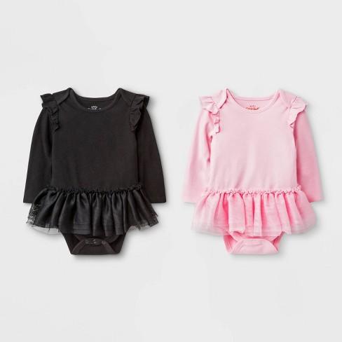 Baby Girls' 2pk Tutu Bodysuit - Cat & Jack™ Pink/Black - image 1 of 1