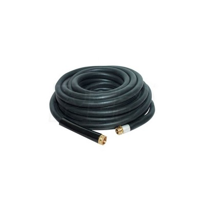Apache 98108797 25 Foot Industrial Rubber Garden Water Hose with Heavy Duty MGHT x FGHT Brass Fittings and 1 Bend Restrictor, Black