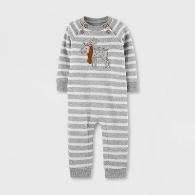 Baby Boys' Moose Striped Romper - Just One You® made by carter's Gray 12M