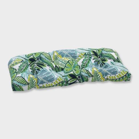 Aruba Jungle Wicker Outdoor Loveseat Cushion Blue - Pillow Perfect - image 1 of 1