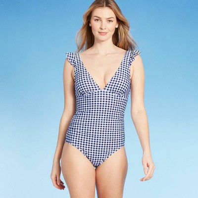 Women's Ruffle Gingham High Coverage One Piece Swimsuit - Kona Sol™ Navy