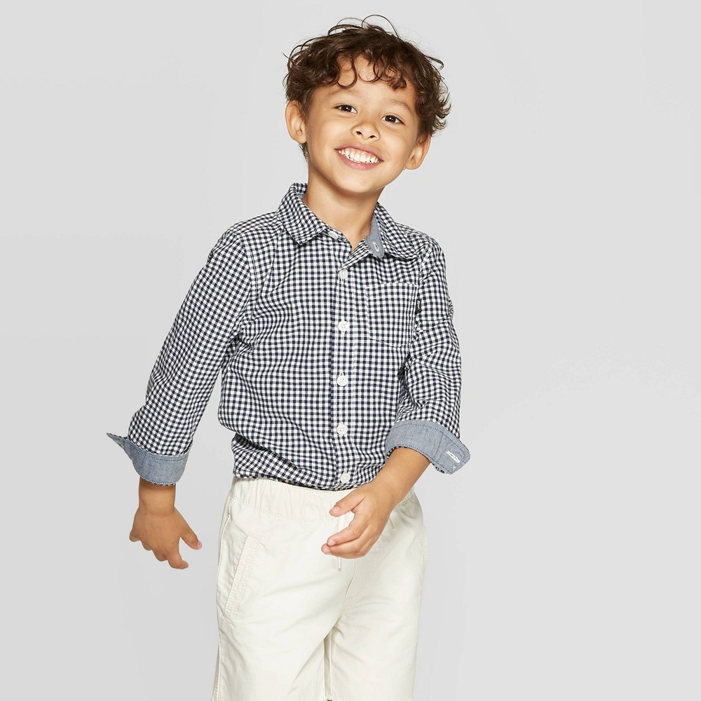 Image of OshKosh B'gosh Toddler Boys' Long Sleeve Button-Down Shirt - Blue 2T, Toddler Boy's