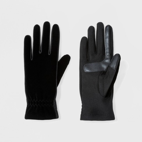 b8787839c5d Isotoner Women s Quilted Stretch Velour With Smart Touch Unlined Gloves -  Black   Target