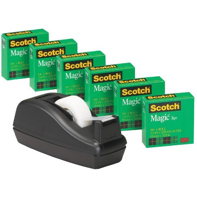 Scotch 810 Magic Tape with Dispenser, 0.75 x 1296 Inches, Matte Clear, pk of 6