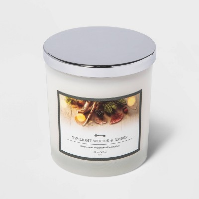 20oz Lidded Milky Glass Jar 3-Wick Twilight Woods and Amber Candle - Threshold™