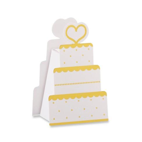 Kate Aspen Set Of 12 Wedding Cake Favor Box White And Gold Target