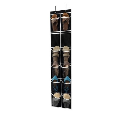 OSTO Over-The-Door Shoe Organizer for 6 Pairs of Shoes; 12 Breathable Mesh Pockets, 2 Metal Hooks, Black Nonwoven; Black