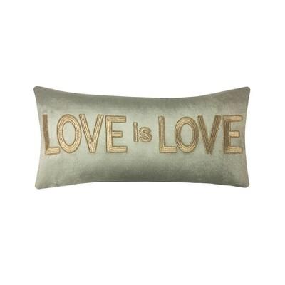 Love is Love  Beaded Velvet Lumbar Throw Pillow Gold - Edie@Home