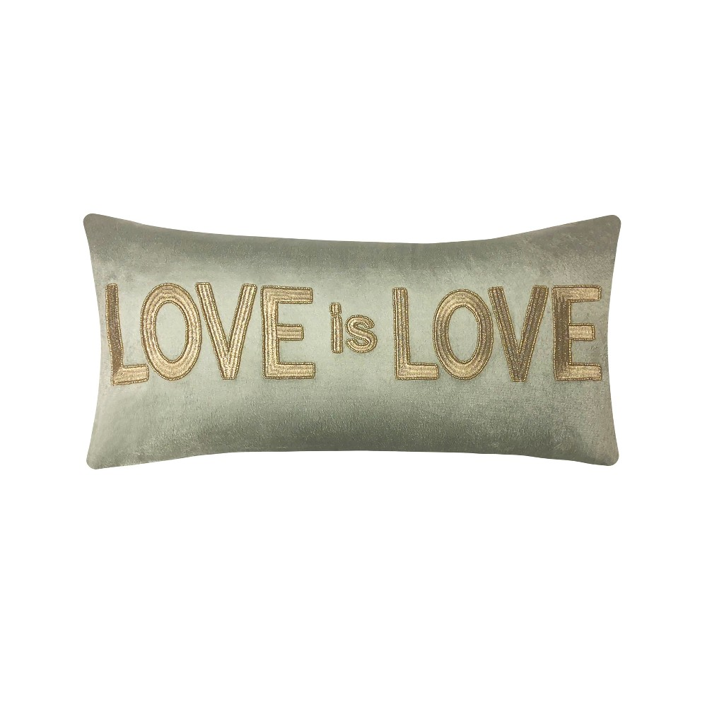 Image of 'Love is Love' Beaded Velvet Lumbar Throw Pillow Gold - Edie@Home