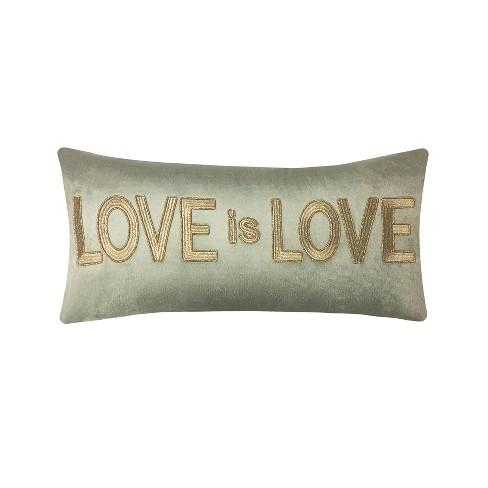 """Love is Love"" Beaded Velvet Lumbar Throw Pillow Gold - Edie@Home - image 1 of 4"