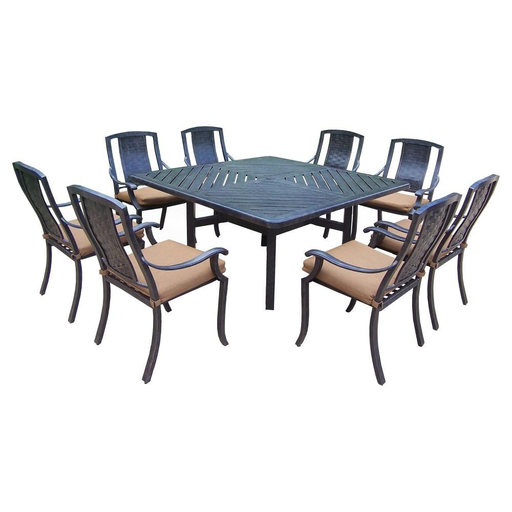 Image of Vanguard 9-Piece Aluminum Stationary Square Patio Dining Furniture Set