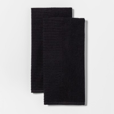 2pk Rib Terry Kitchen Towel Black - Project 62™