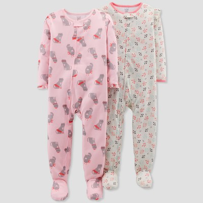 Baby Girls' Cat Footed Sleeper - Just One You® made by carter's Blithe Pink 18M