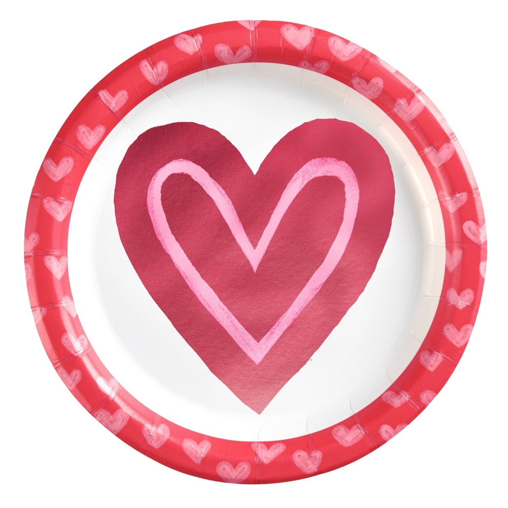 """Image of """"10ct 6.75"""""""" Valentine's Snack Plate With Love Hearts - Spritz , Red"""""""