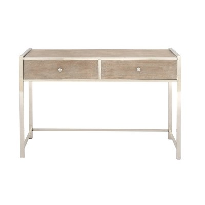 Metal and Wood Console Table Silver - Olivia & May