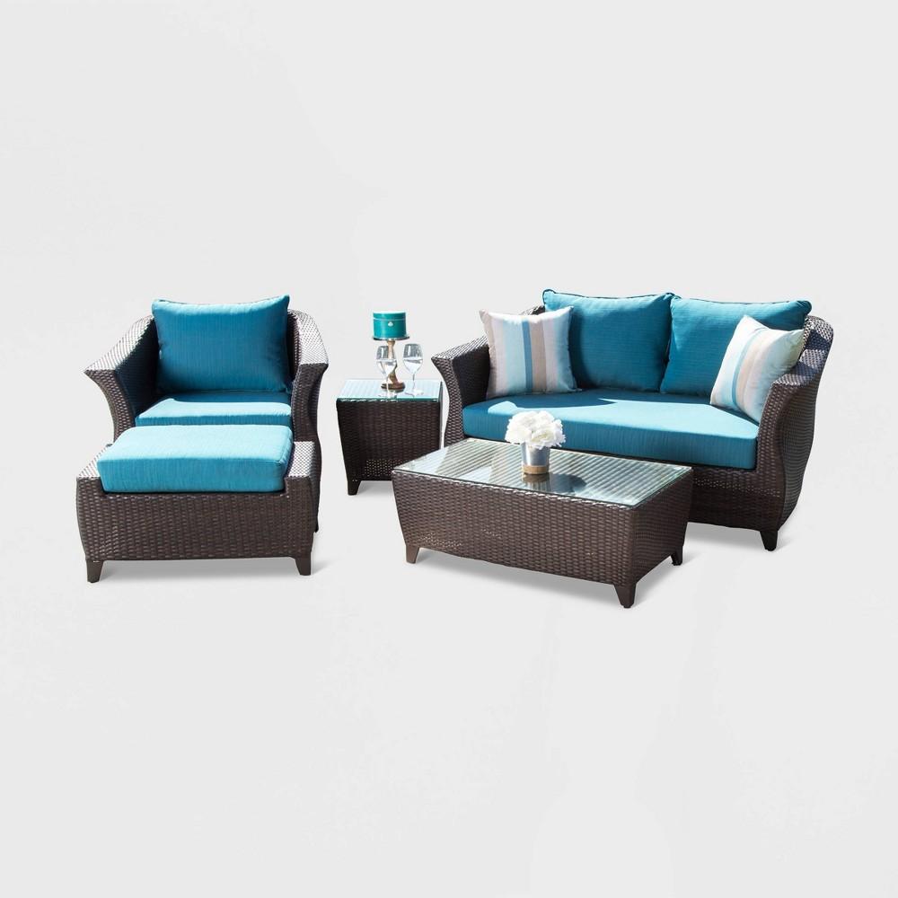 Toluca Sunbrella Outdoor Wicker 5pc Patio Conversation Set - Blue - Abbyson Living