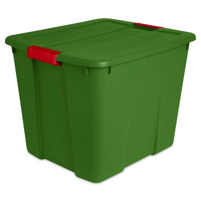 Sterilite 20gal Latching Tote Green with Red Latch