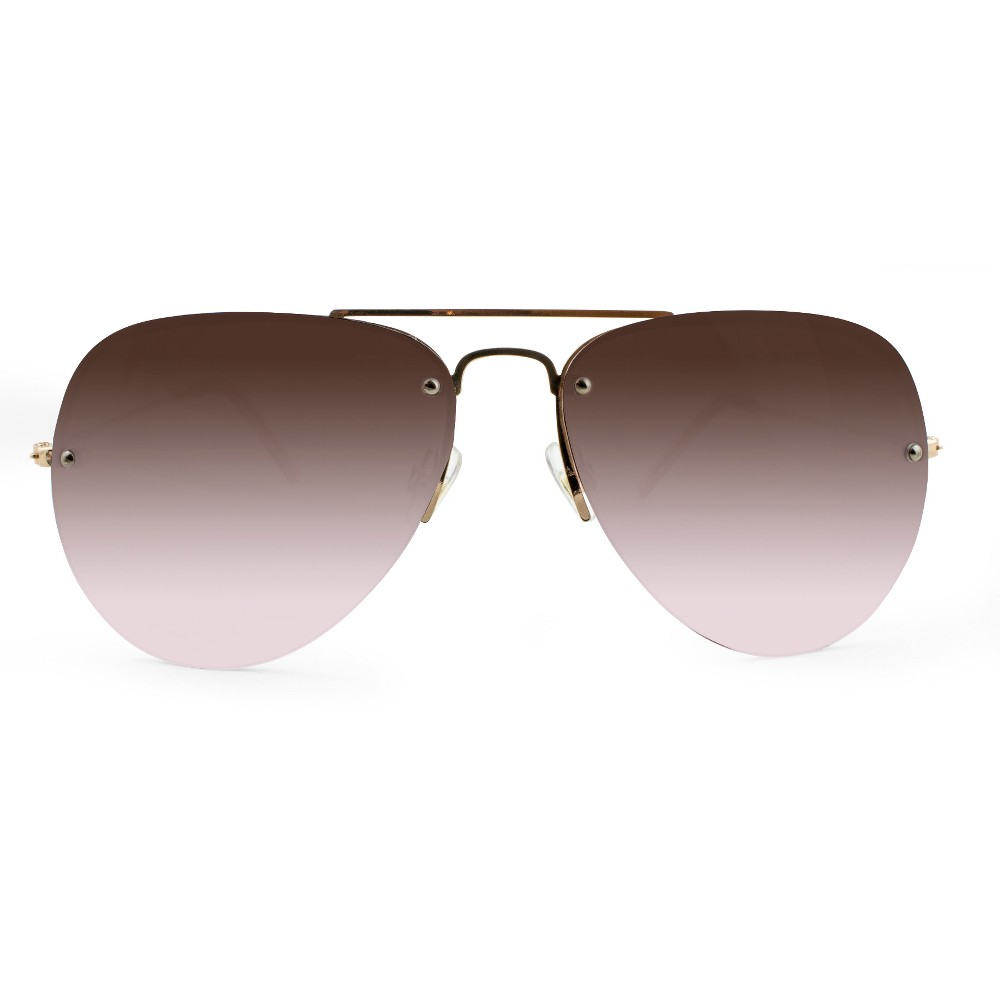 Women's Aviator Sunglasses with Rose Smoke Lenses - A New Day Gold