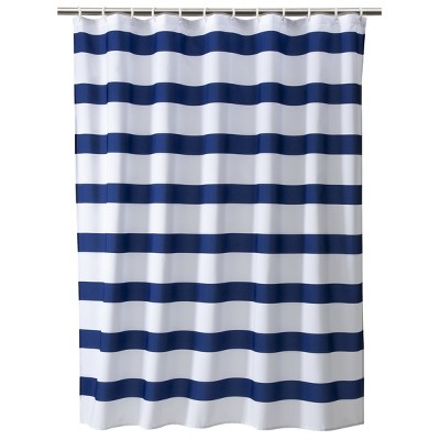Rugby Stripe Shower Curtain White/Blue Cool - Room Essentials™