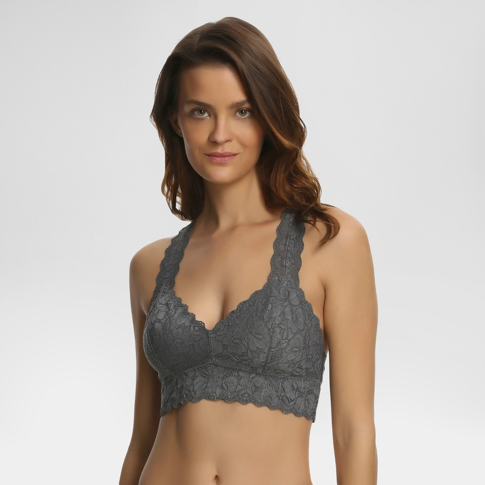 Best Jezebel Womens Racerback Lace Bralette - Gray M