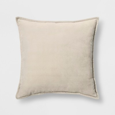 Solid Velvet With Zipper Closure Square Throw Pillow Tan - Threshold™
