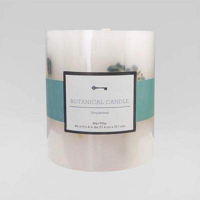 "4.5"" x 4"" Unscented Botanical Pillar Candle Blue Flowers - Threshold™"