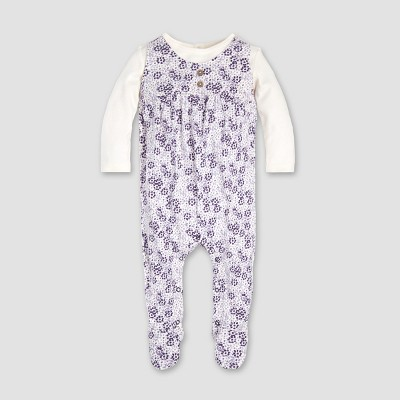 Burt's Bees Baby® Baby Girls' Heavy Jersey Dotty Blooms 2fer Coverall - Eggshell 6-9M